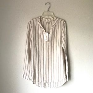 NWT BEACHLUNCHLOUNGE Linen Stripe Blouse